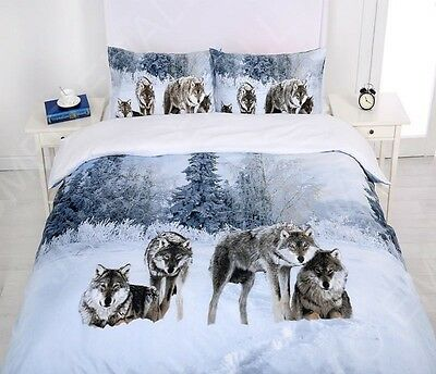 Single/KS/Double/Queen/ King Size Bed Quilt Cover Set--Snow Wolf Family
