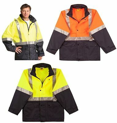 Mens High Visibility Heavy Duty Work Safety Rain Coat Fluro Hi-Vis Jacket Sw18A