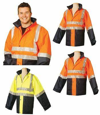 Mens High Visibility Heavy Duty Work Wear Safety Waterproof Hi-Vis Jacket Warm