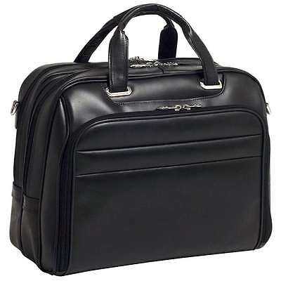 McKlein USA Springfield Black Leather Checkpoint-Friendly 17 Laptop Case - 86595
