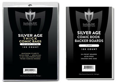 200 Silver Comic THICK Bags and Boards Max Archival Quality Storage