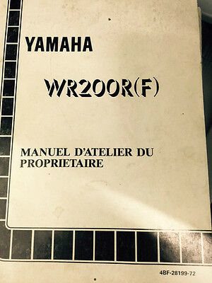 Genuine Yamaha Service Manual For Wr200R (F) 4Bf-28199-72
