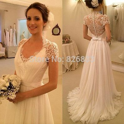 2015 New white/ivory Lace Wedding dress Bridal custom size 6/8/10/12/14/16