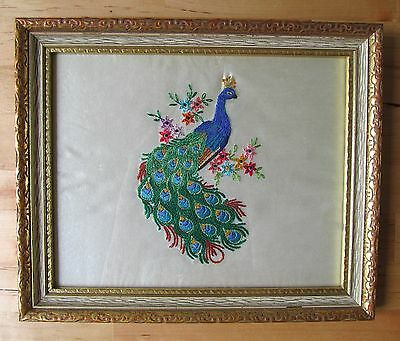 Vintage Embroidered Colorful Peacock Bird Cross Stitch Framed Completed 11x9