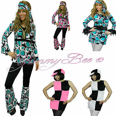 8d6bf98a211 Yummy Bee Hippy Fancy Dress Costume Outfit Women 70s 60s Hippie Disco Plus  Size