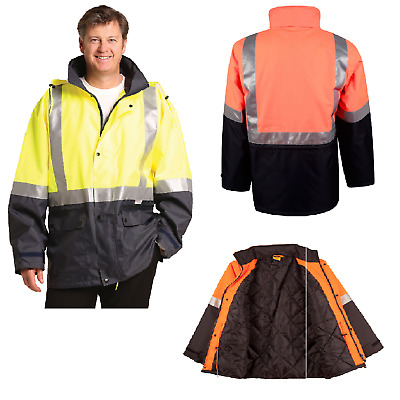 Mens High Visibility Heavy Duty Work Safety Rain Coat Fluro Hi-Vis Jacket Sw28A