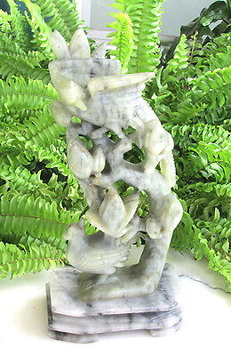Nice Carved Chinese Vtg Soapstone Carving With Birds And Flowers