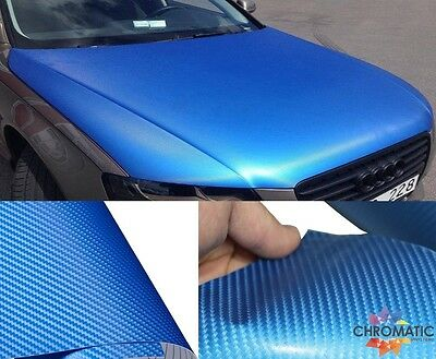 Blue Gloss Carbon Fibre Vinyl 152 x 30cm Roll - 4D Bubble Free Car Wrap Film