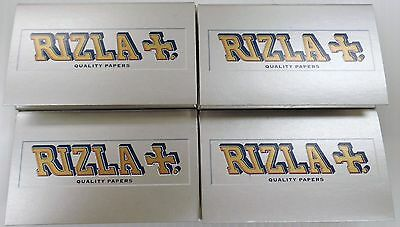 4 Packs RIZLA+. Silver Gummed Rolling Papers 100 Leaves/Pack Fast Free Shipping