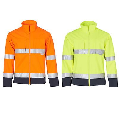 Mens Hi-Vis Two Tone Softshell Jacket 3M Tape Work Wear Fluro Construction Men's