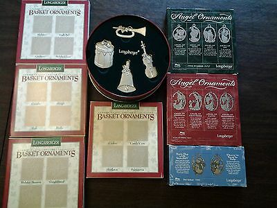 Longaberger Pewter Christmas Ornament Basket Tie Ons -- includes 30 ornaments
