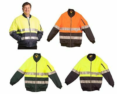 New Mens Hi-Vis Two Tone Flying Jacket Work Wear Reflective Outerwear Out High