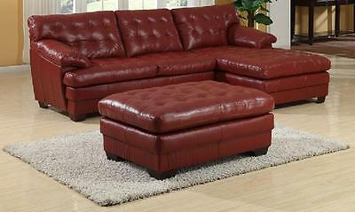 LUXURIOUS LEATHER RED Tufted Sofa Chaise Sectional Livingroom Lset ...