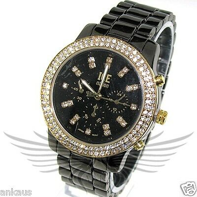 Unisex Iced Out Crystal Accented Stylish Hip Hop Wristwatch by Ice Nation WML-3