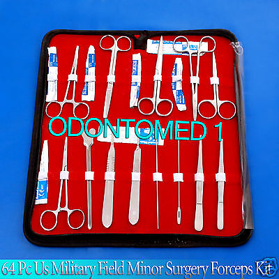 64 Pc Us Military Field Minor Surgery Surgical Instruments Forceps Kit