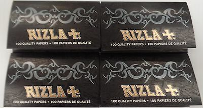 4 Packs RIZLA+. Black Cigarette Rolling Papers 100 Leaves/PackFast Free Shipping