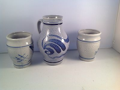 Marzi & Remy 0.25 Liter Pitcher & 2 Cups Blue Salt Glaze Post 1964 Mark, Germany