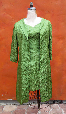 Vintage 1950s 1960s Green Brocade Wiggle Dress + Coat Jacket. Party  Cocktail