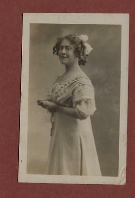 Young Lady dress hair ringlets vintage photograph    qk206