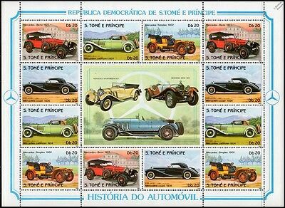 1983 St Thomas & Prince Car Stamp Sheet (Mercedes-Benz Simplex/Cabriolet/Coupe)