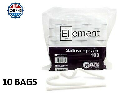 1000 PC ELEMENT Saliva Ejector White w/ White Tip Bendable Dental Disposable 6""