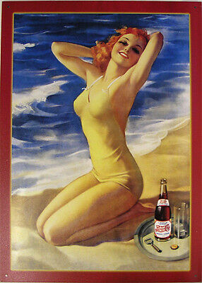 Pepsi-Cola Bathing Beauty Pin-Up Metal Sign