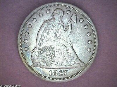 "1847 ''SEATED LIBERTY SILVER DOLLAR ''   Great TYPE Set Coin "" SCARCE """