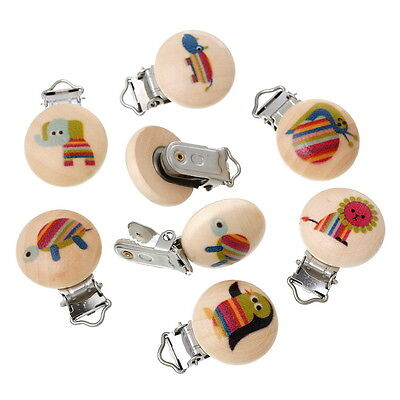 5PCs Baby Pacifier Clips Animal Printed Natural Color Wooden Metal Holders