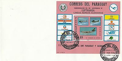 (74302) Paraguay Cover Lufthansa 50 Years - 7 April 1976