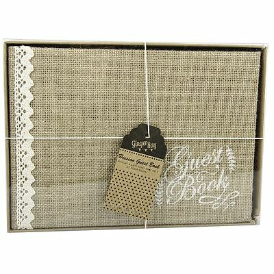 A Vintage Affair Hessian Burlap Lace Guest Book for Weddings