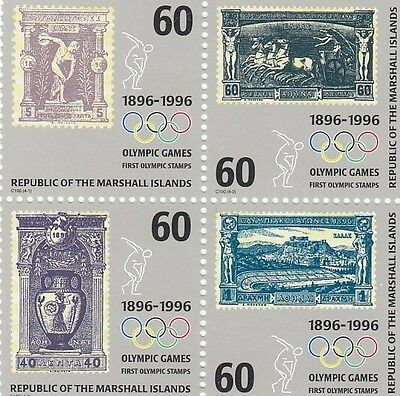 (44411) Marshall Is MNH Olympic Games 100 years Block of 4 1996