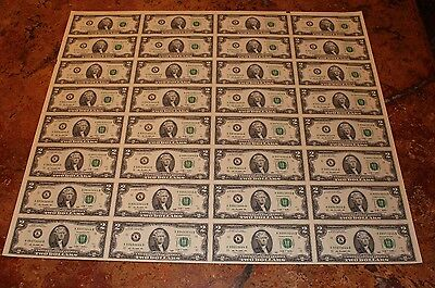 Full Uncut Two Dollar Bill Currency sheet $2 x 32 Notes Fast Shipping