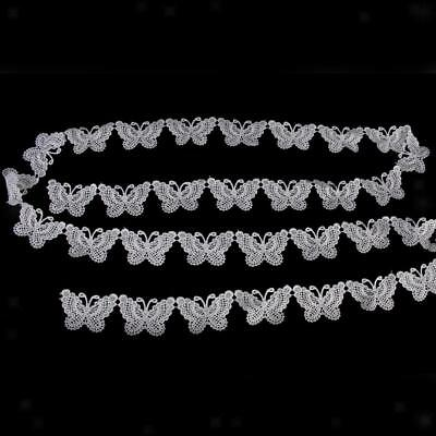 3 Yards Butterfly Lace Trim Ribbon Embroidered Craft Sewing Applique DIY 48mm