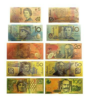 24KT Gold Coloured Australian  Bank Note Set Limited Edition Rare Banknote Album