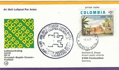 (44435) Colombia Cover Lufthansa Guayaquil - Bogota - Caracas - Frankfurt 1977