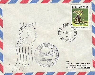 (74314) Colombia Cover Lufthansa Bogota - Guayaquil - 1 April 1977