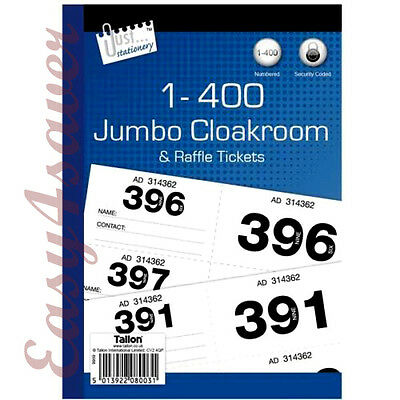 Raffle,CloakroomTickets 400, 500 or 1000 books, tombola, draw,Jumbo ,numbered