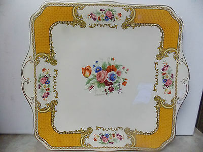 """Myotts Royal Crown Staffordshire England The Bouquet Square Platter, Cake 10.5 """""""