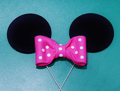 Minnie Mouse Cake Topper X 1 Set Of Ears On Wires And A Bow... Wow!!!!