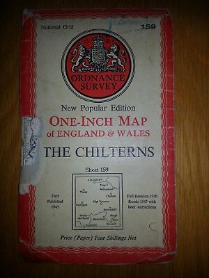 Vintage Map The Chilterns 1947 Ordnance Survey Sheet 159 One Inch National Grid