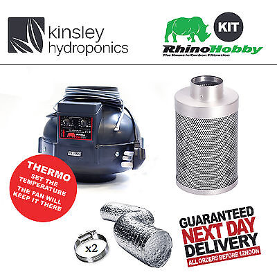 "4"" / 100mm Rhino Thermo Fan & Rhino Hobby Carbon Filter Any Ducting Hydroponics"