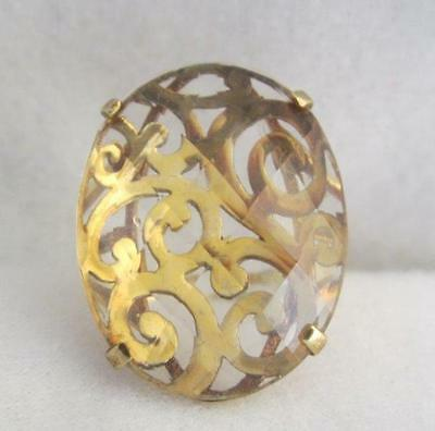 """""""c' Turkey Vermeil Sterling Pierced Oval & Faceted White Topaz Top Ring Size 7.5"""