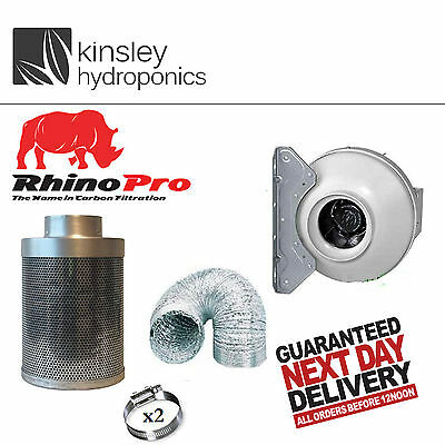 4 5 6 8 10 12 Inch Rhino Pro Carbon Filter RVK Fan Kit Foil Ducting Hydroponics