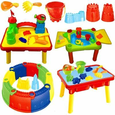 Sand And Water Table Garden Sandpit Playset Toy Moulds Watering Can Spade Bucket