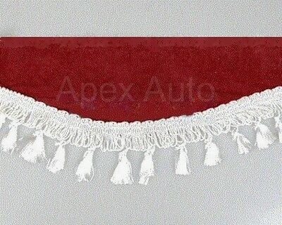 Truck HGV Lorry Windscreen Window Sun Shield Pelmet Decoration Red + White