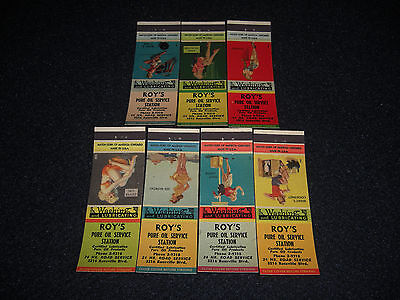 Pin-Up 1949 Roy's PURE Service Station Matchbook Covers Set of 7 Mad Cap Maids