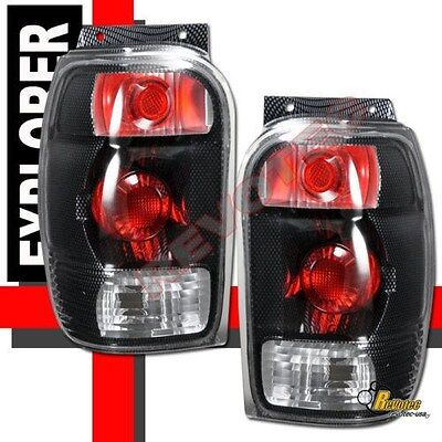 1998-2001 Ford Explorer Mercury Mountaineer Carbon Tail Lights Lamps RH & LH