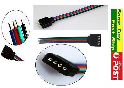 1x 4 Pin Connector Cable Cord Leads 10cm Female Male For 5050 RGB LED Strip