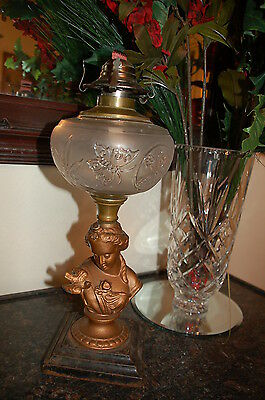 Antique French Lady w Bird and Butterfly Font Statue Oil Kerosene Lamp c1870s