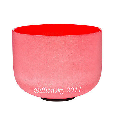 """Perfect Pitch C Root Chakra Red Colored Frosted Quartz Crystal Singing Bowl 8 """""""
